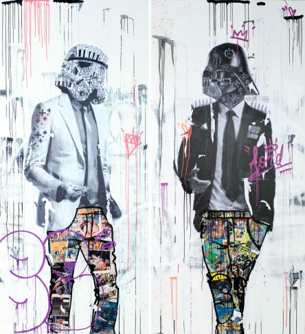 Stikki Peaches - Fugetaboutit - GQ trooper and GQ Vader (diptych)